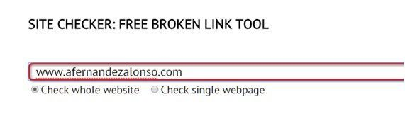 Formulario de entrada de Dead Link Checker