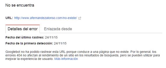 Descripción detallada del error de rastreo detectado por Google