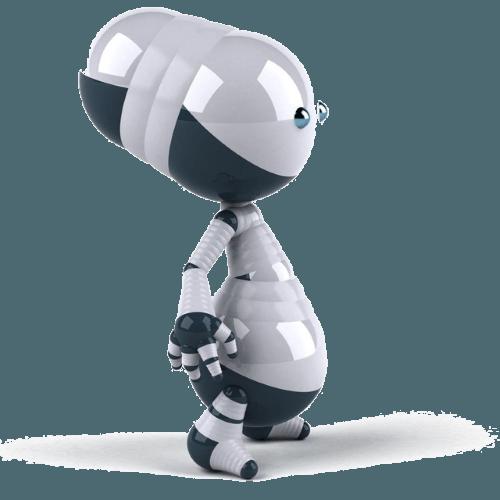 Robot con fondo transparente y sombra