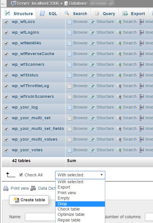 Borrar las tablas de la Base de Datos en phpMyAdmin