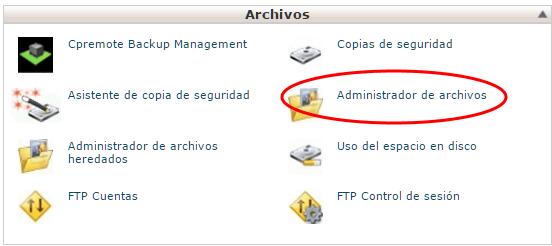 Adminsitrador de Archivos en cPanel