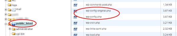 Copia de seguridad del fichero de configuración para caso de error