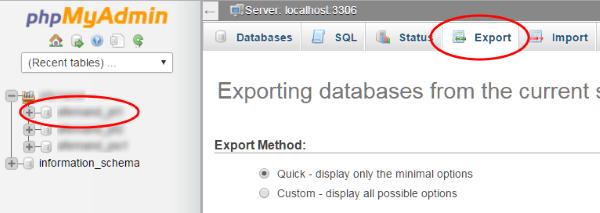 Exportar una Base de Datos desde phpMyAdmin