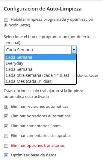 Programación automática de limpieza y desfragmentación de la Base de Datos