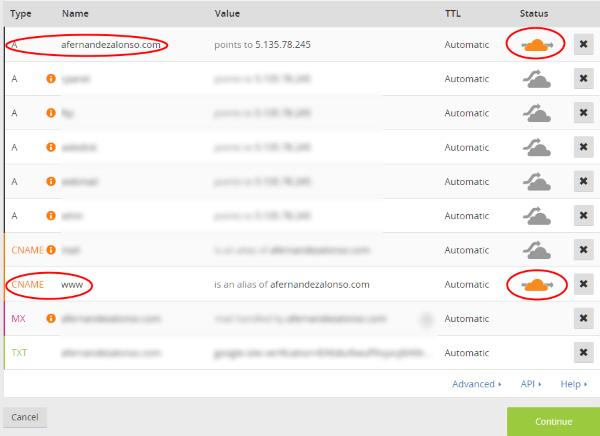 Seleccionar los servicios web que CloudFlare prestará en su CDN
