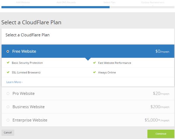 Seleciconar el plan CloudFlare para nuestro sitio web