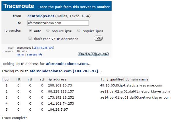 Trazado de ruta del sitio web con herramienta CentralOPS