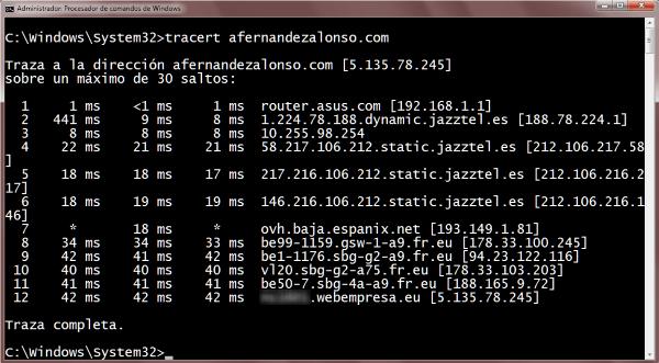 TRazado de la ruta (traceroute) en Windows para nuestro sitio web