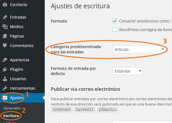 Seleccionar categoría predeterminada en ajustes de escritura de WordPress