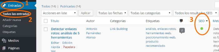 Calificación SEO de una entrada en WordPress (Yoast)