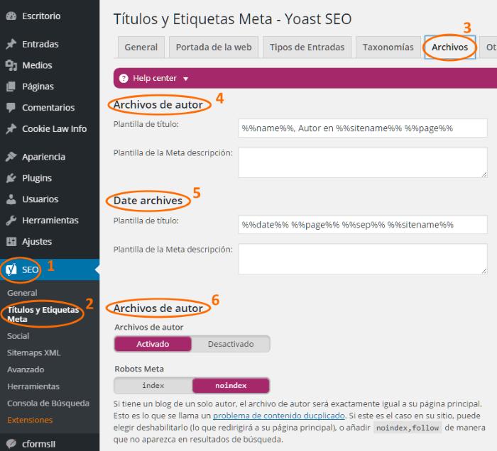 Configuración de la indexación de páginas de archivo y autor en WordPress