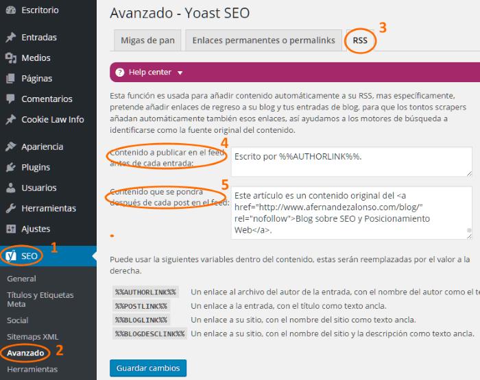 Configuración de los feeds RSS con Yoast SEO en WordPress