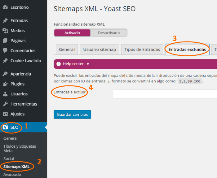 Configuración Yoast de entradas excluidas en el sitemap XML de WordPress