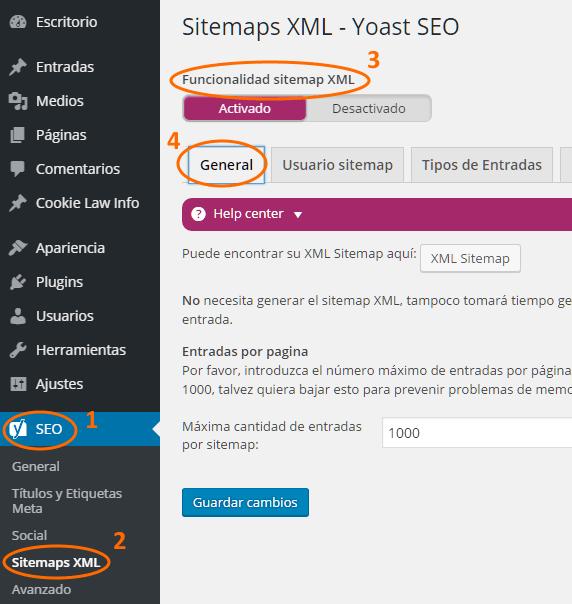 Configuración general de Sitemaps XML de Yoast SEO