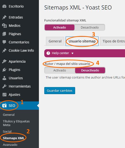 Configuración del sitemap del archivo de autores de WordPress