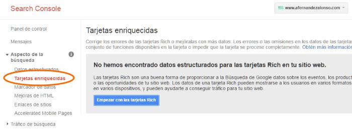 """Tarjetas enriquecidas (""""Rich Cards"""") en Consola de Búsqueda de Google"""