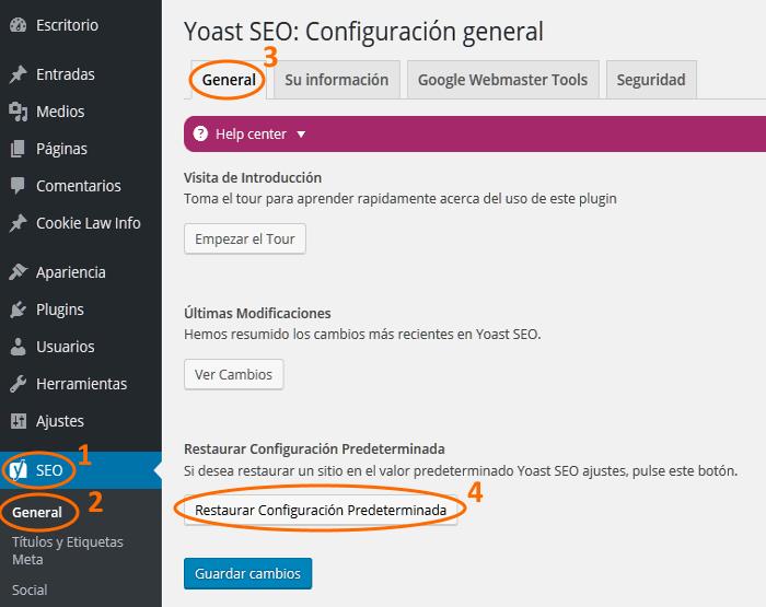 Configuración general del plugin Yoast SEO para WordPress