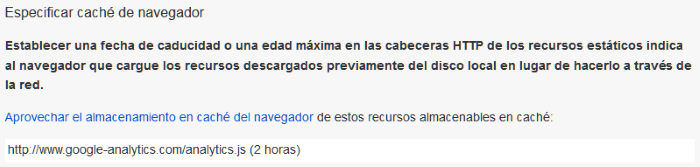 Mensaje de error de PageSpeed por la caché de navegador del script analytics.js