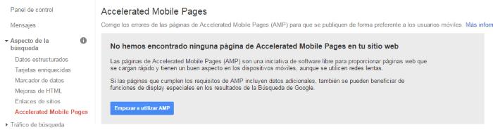 Sitio web sin tecnología AMP en el aspecto de búsqueda