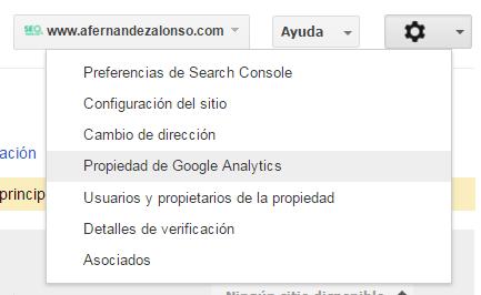Asociar la cuenta de Search Console con Google Analytics