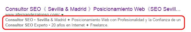 La meta-descripción suele aparecer en los resultados SERP de los buscadores