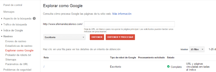 Explorar como Google para rastrear el sitio web