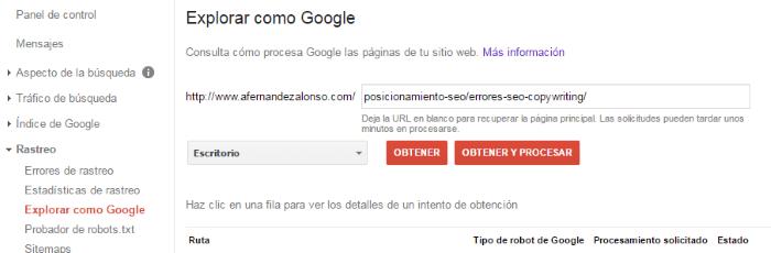 Explorar como Google para rastrear una página web
