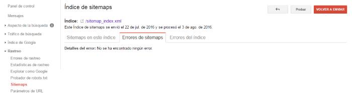 Errores del sitemap al rastrear el sitio web