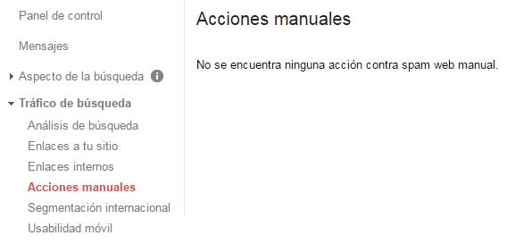 Acciones manuales dentro del tráfico de búsqueda de Search Console