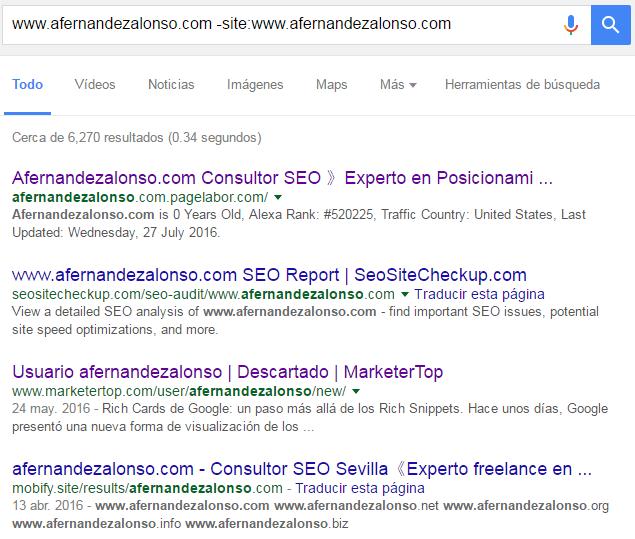 """Resultados de búsquedas en Google con comando """"site"""""""