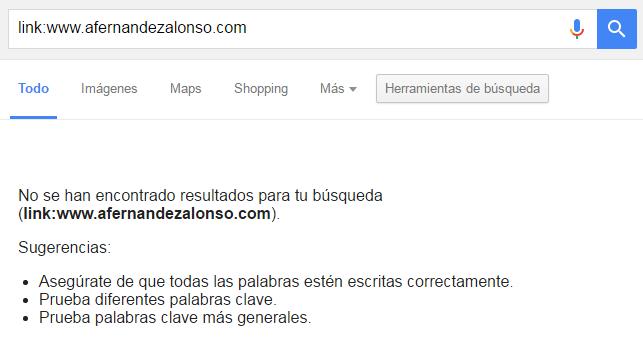 """Resultado de búsquedas en Google con el comando """"link"""""""