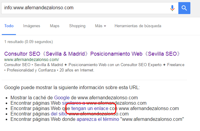 """Resultado de búsqueda con el comando """"info"""" de Google"""
