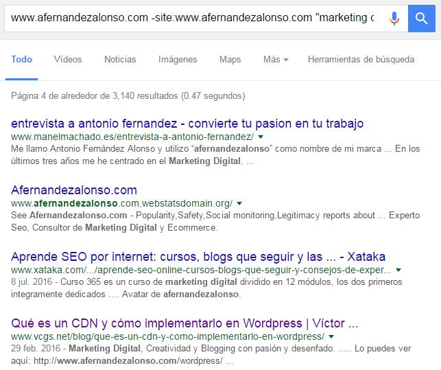 """Combinación de búsquedas y operadores con el comando """"site"""" en Google"""