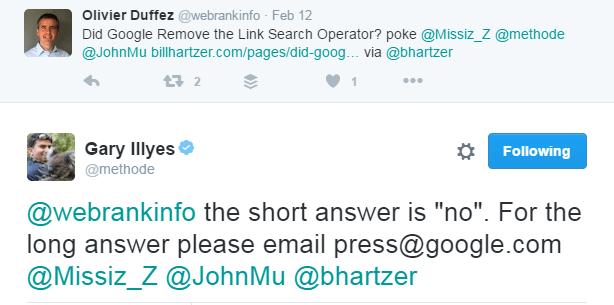 """Tuit de Google que confirma que comando """"link"""" sigue operativo"""
