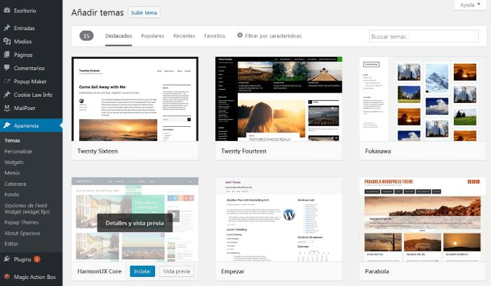 Temas disponibles en el servidor de WordPress para su instalación