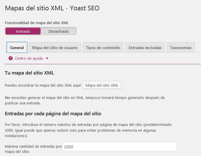 Generación del sitemap en el plugin Yoast SEO