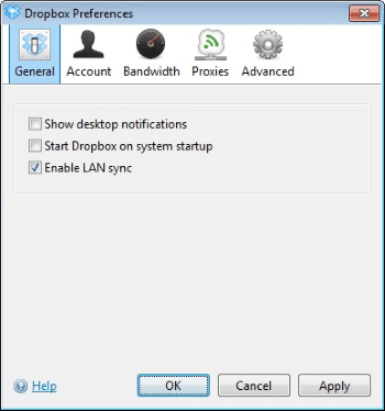 Panel de configuración de Dropbox