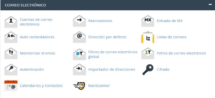 Sección de herramientas de Correo Electrónico de cPanel