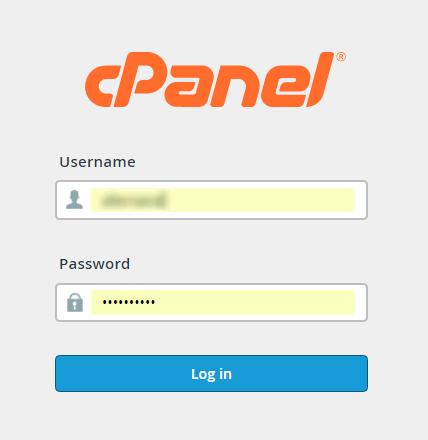 Formulario de acceso a cPanel