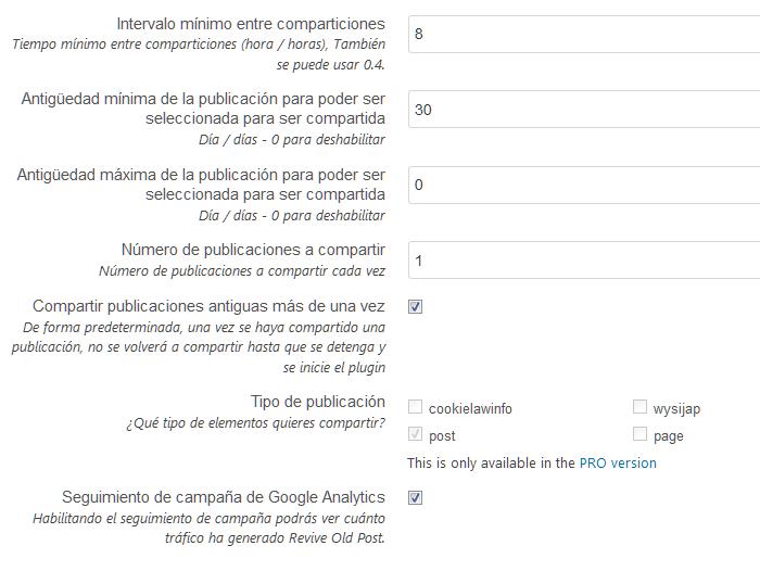 Configuración de la publicación de posts en Revive Old Posts