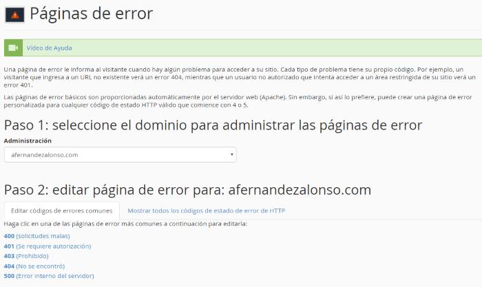 Configuración de las páginas de error