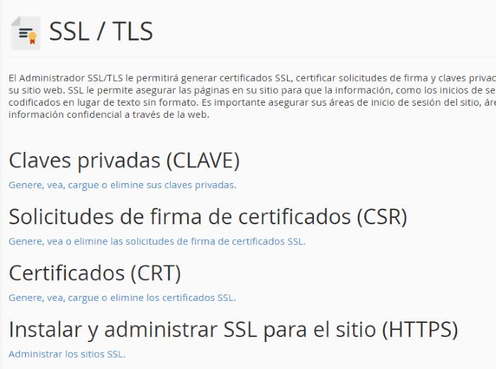 Configuración de los certificados SSL/TLS