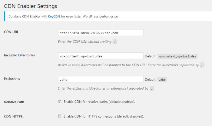 Pantalla de configuración del plugin CDN Enabler