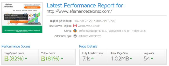 Informe de rendimiento de GT-Metrix (sin CDN)