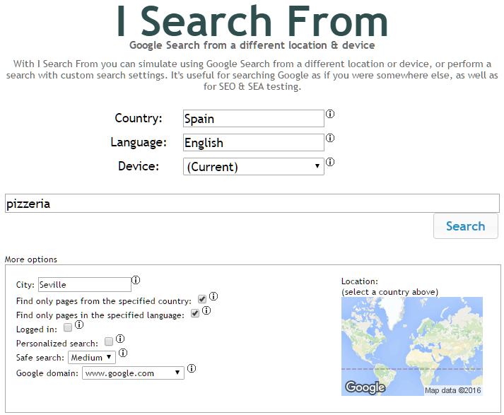 Búsqueda de Google geolocalizada y parametrizada
