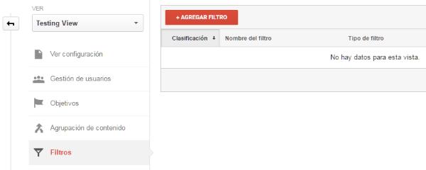 Crear nuevo filtro en las vistas de Google Analytics