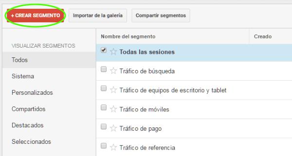 Crear segmento nuevo en google analytics