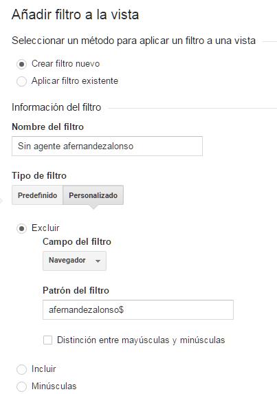 Filtro de vista en analytics para cadena de usuario del navegador