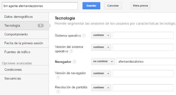 Filtro del segmento google analytics en tecnología y navegador