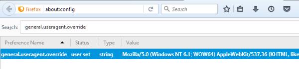 Cambiar el agente de usuario en Mozila Firefox